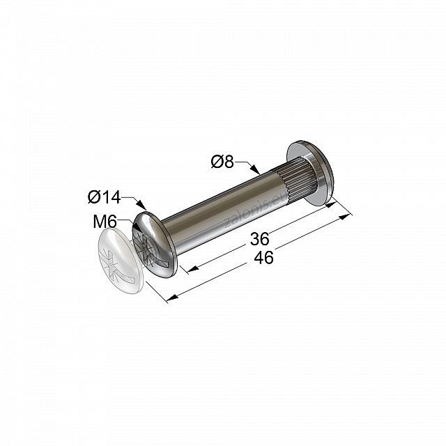 FURNITURE CONNECTOR M6 36-45mm / NICKEL